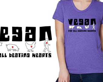 Vegan Beating Heart Shirt - Vegan Clothing - American Apparel Tri Blend
