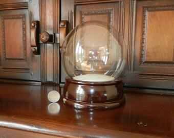 Large DIY Snow Globe Kit / Water Globe Kit (152mm glass dome, wooden base)