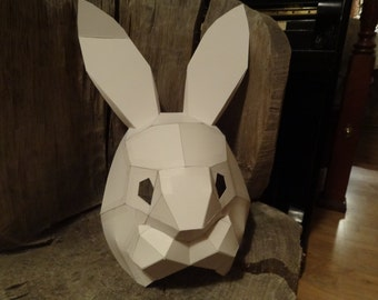 DIY Halloween mask, Make your own Rabbit mask from cardboard, Instant download