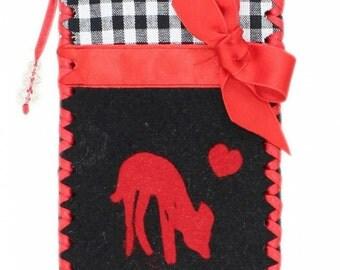 Handytasche deer Fawn black-red-plaid