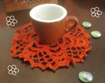 Handmade crochet-Doily-Red-Round-Table Decor-Little