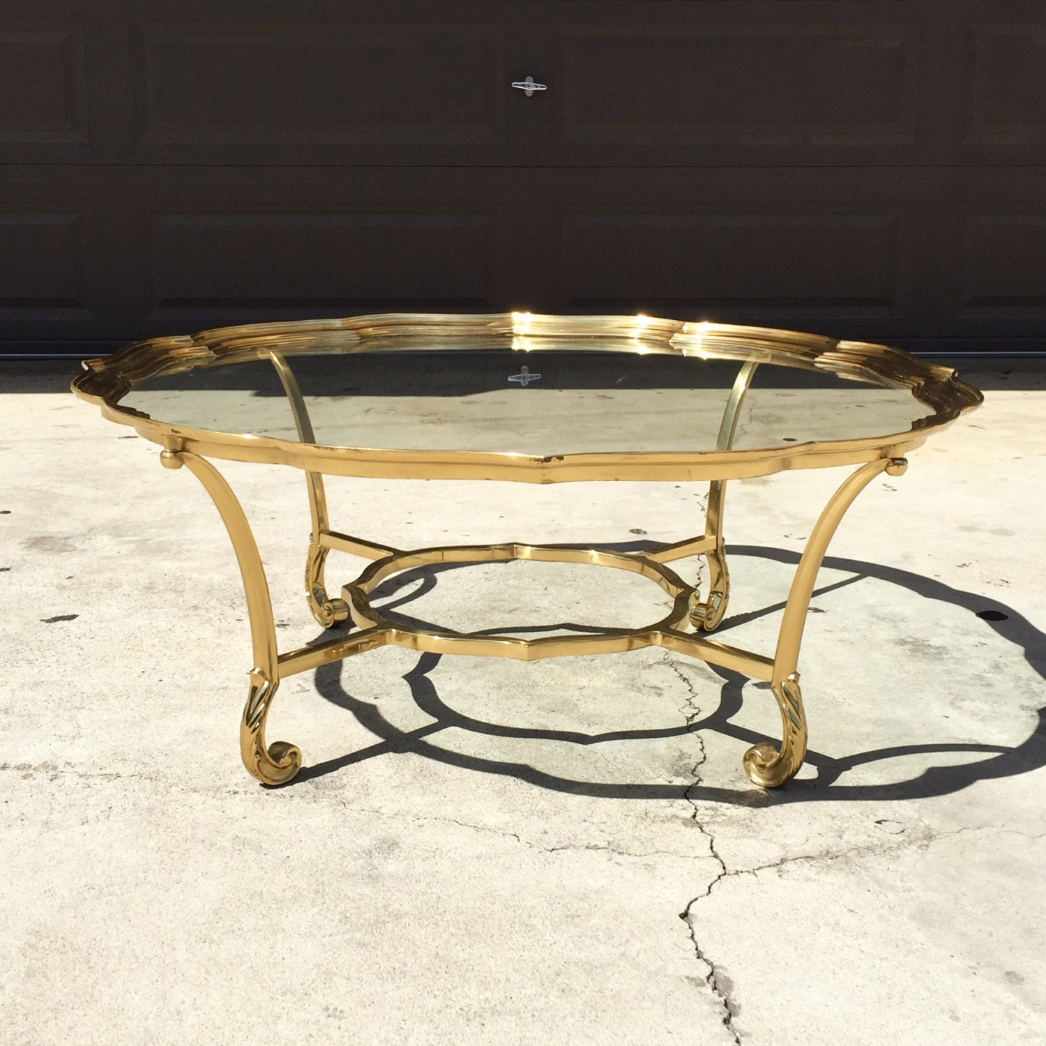 Mid century high end vintage hollywood regency brass for High end glass coffee tables