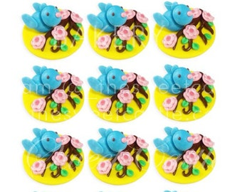 3D Fondant Edible Bird and Flowers Cupcake Toppers - 12 pack
