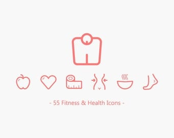 55 Fitness & Health Line Vector Icons Clip Art Symbols