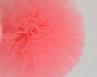 Coral pink tulle pompom / wedding party decorations pom poms