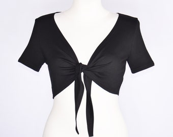 Bolero with short sleeves in black
