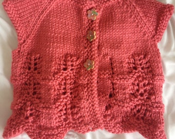 hand knit baby girl sweater/cardigan