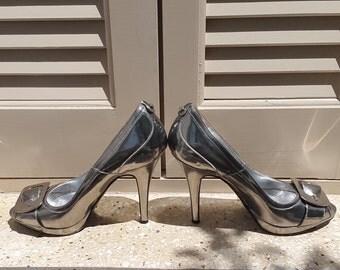 SALE // Karen Millen Silver Peep Toe Heels