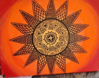 Hand made Zentangle sun painting acrylic paint on canvas