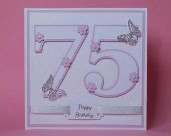 Large Number with Flowers and Butterflies Handmade Birthday Card