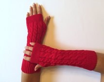 Christmas Red Fingerless Gloves Knitted, Arm Warmers, Hand Warmers,Stocking Stuffers, Fall Mittens, Women Gloves, Christmas gift