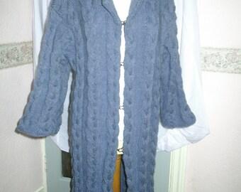 Ladies hand knitted Aran denim blue coat