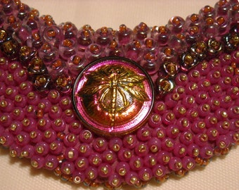 SALE Raspberry Dragonfly Collar