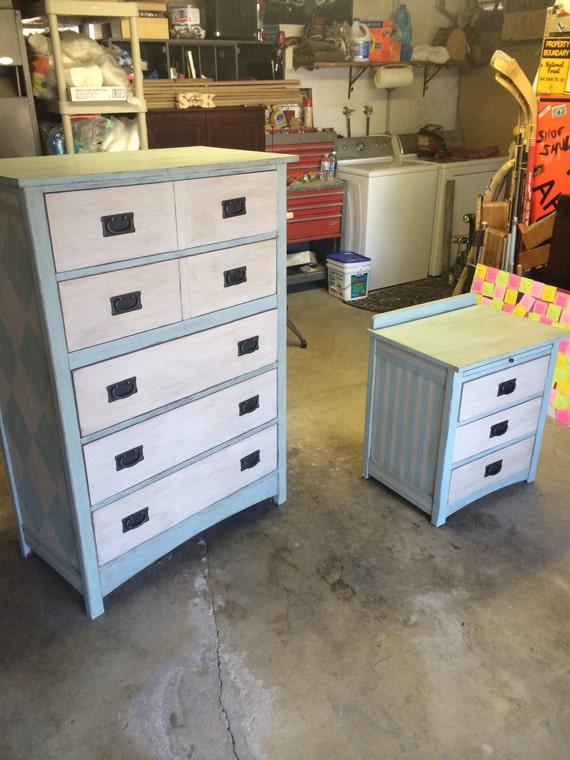 Handpainted matching bedroom set dresser and end table for Matching bed and dresser