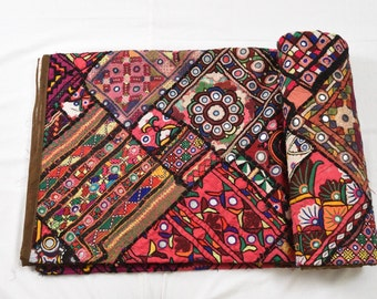 Indian Vintage ethnic hand-embroided bed cover bedspread bedsheet Mirror Work