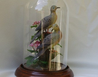 Mourning Doves hand-painted sculpture in 8 inch crystal dome