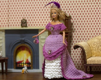 Barbie clothes Barbie crochet Barbie handmade Barbie dress Lavender crocheted Barbie Doll Debutante Ball Gown 1876
