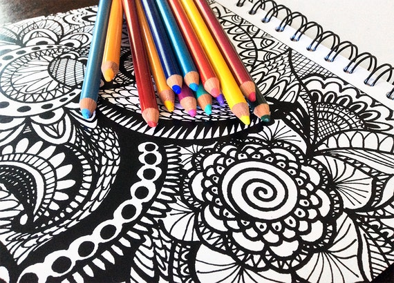 Calming Doodles Adult Coloring Book Art Therapy By ColorIt SPIRAL BOUND HARDBACK