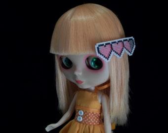Zelda Heart Cross Stitched Blythe Hair Clip Large - Pink
