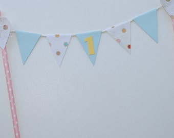 Bunting Cake Topper Pastel Pink Blue Lemon Yellow Polka Dots Baby Girls 1st Birthday Party First Birthday Cake Decoration Hearts Spots
