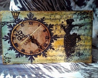 "Handmade wooden table clock ""Vintage woman"" decoupage clock, decoupage table clock, Wooden table clock"