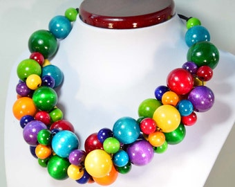 Multicolor necklace wooden beads