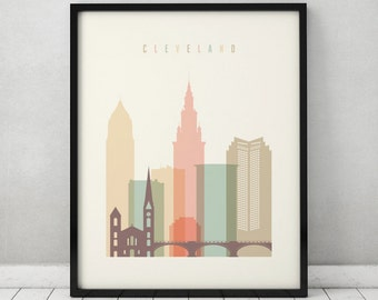 Cleveland print, Poster, Wall art, Cleveland, Cleveland skyline, City poster, Typography art, Home Decor, Digital Print, ArtPrintsVicky.