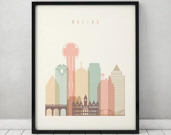 Dallas print, Poster, Wall art, Texas cityscape, Dallas skyline, City poster, Typography art, Home Decor, Digital Print, ArtPrintsVicky.