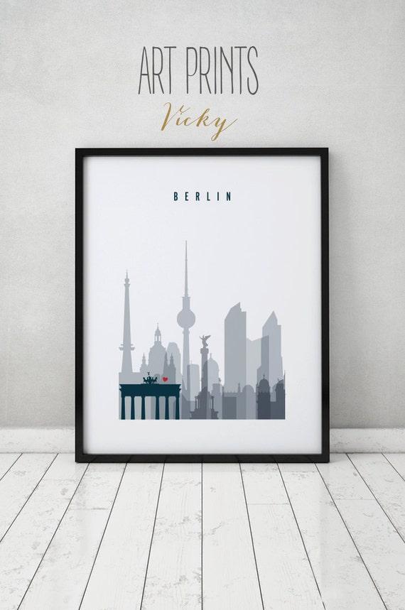 berlin print poster wall art germany cityscape berlin. Black Bedroom Furniture Sets. Home Design Ideas