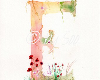 Letter E Watercolour Monogram Print