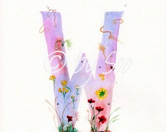Letter W Watercolour Monogram Print