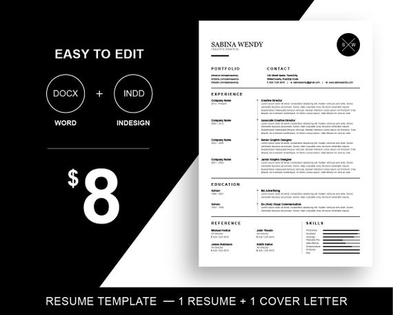 Resume Template For Word & Indesign 1 Page Resume By PIYPrintable