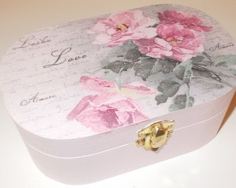 Shabby Chic Jewellery Trinket Box Vintage Rose decoupage