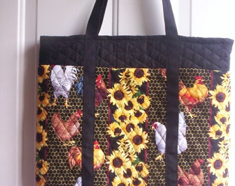 Black/yellow/red/brown Chicken Print Tote!Quilted Double Face Fabric,Washable!