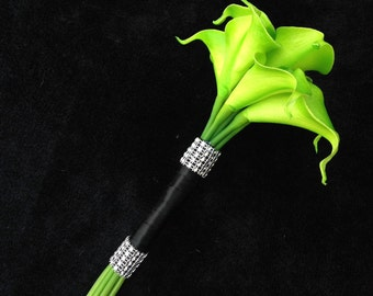 Lime green Cala lily bouquet
