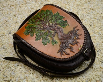 Real leather hand bag with embossed decoration Green Tree