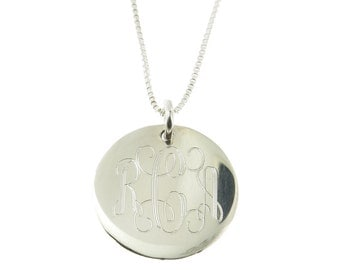"""925 Sterling SIlver Monogrammed Personalized Childrens Necklace, 14"""" Chain 16mm Engravable Pendant"""