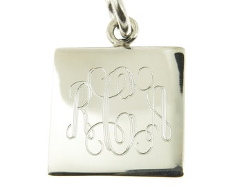925 Sterling Silver Monogram Personalized Square Pendant, Option to add a chain to make it a Necklace