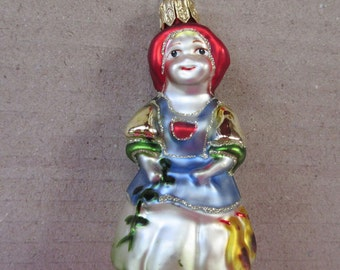 Vintage Christmas Ornament Sweet Angel Hand Blown Glass Made In Germany  #111