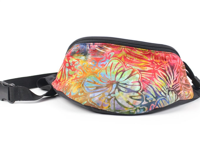 Fanny pack Rainblow Hibiscus Floral fabric  - Hip Waist Bag for travel, sport, and recreation with 2-zippers