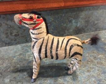 Vintage Germany Wind Up Fur Zebra Tail Moves 1930 Era