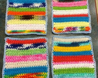 Washcloths or Dishcloths Colorful Mixed Bright Colors Handmade Crochet Qty of 4