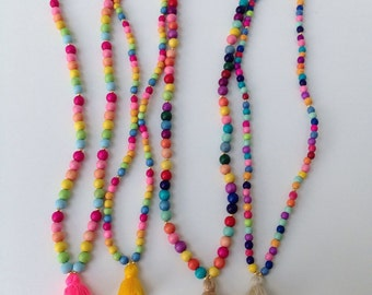 Candy Stripe necklace (small beads) , child jewelry, jewelry with tassel, charms, child gift, beach jewelry, necklace with tassel, mommy & m