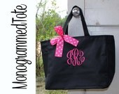 Set of 5, Bridesmaid Gift, Monogrammed Tote Bags, Wedding, Bridesmaids Tote