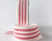 "Red and White Stripe Grosgrain Ribbon 1.5"" width in 5 Yard Cuts Gift Wrapping May Arts Ribbon Wide Ribbon"