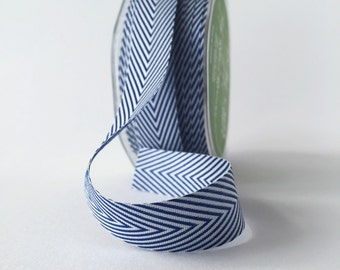 Navy and White Chevron Twill Tape Ribbon .75 Inch 5 Yards by May Arts Blue and White Ribbon