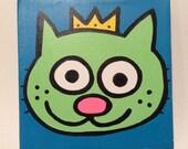 Kitty King 6x6 Minipop Originial Painting