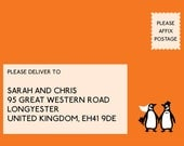 Penguin Book wedding RSVP card printable (double sided)
