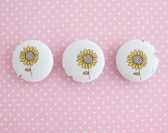Fabric Covered Buttons 1.25 Inch | 3 Sunflower Print Fabric Large Shank Buttons