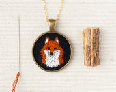 Reserved for TIffany - Fox Necklace - Embroidered Totem Animal Portrait - Circle Pendant - Fiber Charm - Made to Order